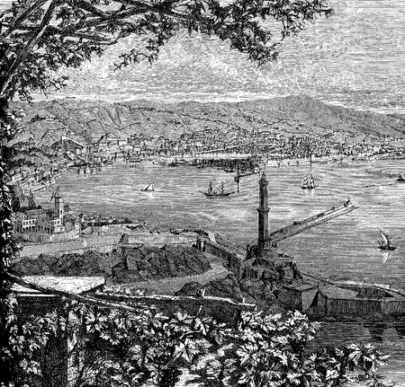 Italy, Liguria, panoramic vintage engraving of Genoa harbor on the Tyrrhenian sea, with the old Lanterna lighthouse Stock Photo