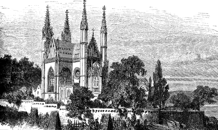 Vintage engraving of the Apollinariskirche  in Remagen, Germany, Neo Gothic church rebuit in the XIX century on the remains of the older one.