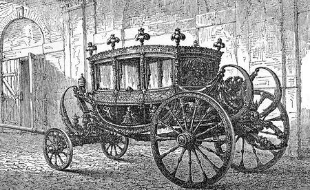 Vintage engraving of State carriage, coach owned by a state for royal use, for state visits, royal weddings and other high ceremonial events
