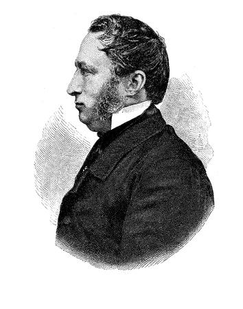 Envraving portrait of Friedrich Guell (1812-1879), German poet and writer of literary works for children in Biedermeier era.