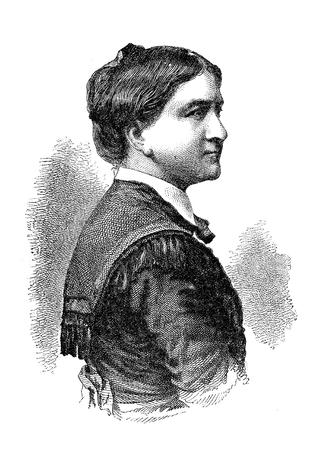 Vintage portrait of Emilie Ringseis (1831-1895) German writer and poet
