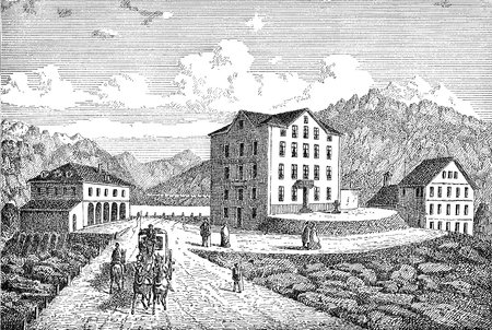 St. Gotthard pass connecting northern and southern Switzerland, old engraving