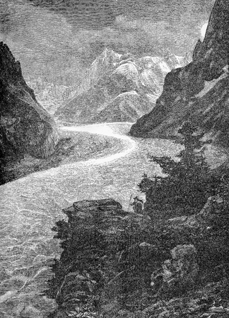 Mont Blanc glacier with the Mer de Glace (sea of ice), vintage engraving. Mont Blanc is the highest mountain in the Alps, between Italy and France.