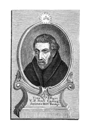 Engraving portrait of  Peter Canisius (1521-1597), Dutch Jesuit and catholic priest during the Protestant Reformation era.