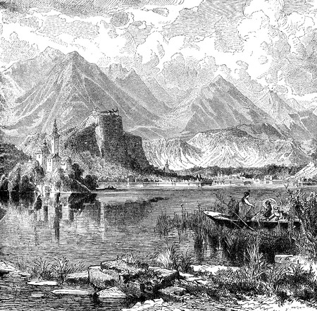 Vintage engraving of Bled lake, once named Veldes. View of the medieval  castle of XI century and the Slovenian Alps