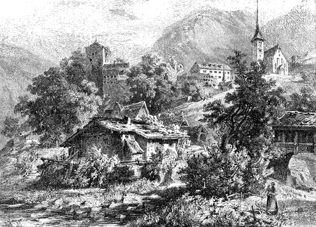 Vintage engraved view of Buerglen in the canton of Uri in Switzerland, legendary home of William Tell with the church high on the hill and the Meierturm of XIII century Stock Photo