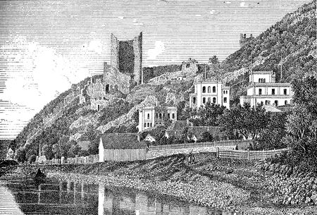 Vintage engraving of Visegrad, small town in Hungary on the Danube river with the old castle ruins Stock Photo