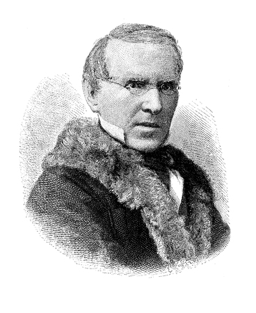 Engraving portrait of Johann Gebhard Flatz (1800-1881), Austrian painter of portraits and religious paintings