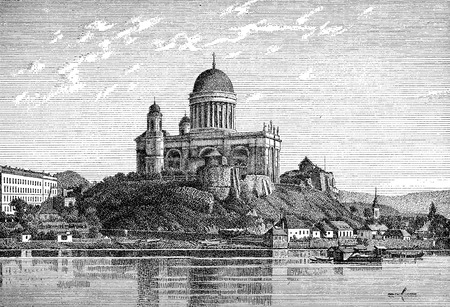Vintage view of Esztergom cathedral on Danube river,the largest church in Hungary, monumental construction in Hungarian Classicism style built in XIX century