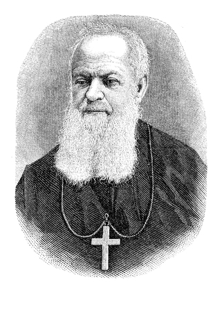 Vintage portrait of  archabbot Boniface Wimmer (1809 -1887), german monk founder of the first benedictine monastery in United States in Pennsylvania