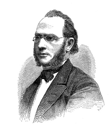 Engraving portrait of Georg Christian Dieffenbach (1822 - Schlitz) ,  German poet and theologian, his poems for children are very popular in Germany