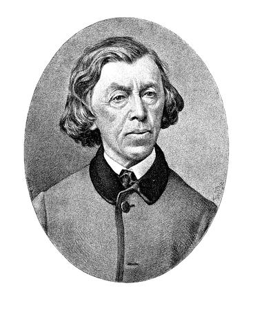 Engraving portrait of Melchior Paul Deschwanden (1811-1881), Swiss portraitist and religious painter Stock Photo