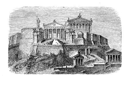 Vintage engraving describing how could have been the Acropolis of Athens in the antique times, not damaged over the course of centuries.