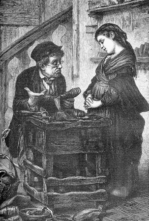 Humor vignette, the shoemaker tells the girl that he cannot repair her shoes, they are beyond hope, old print
