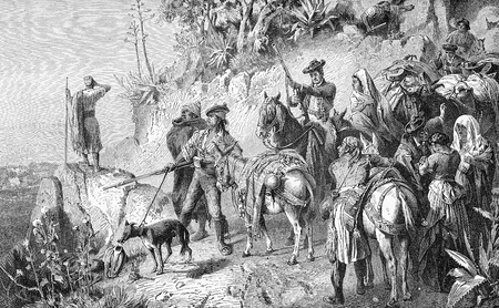 Vintage print, Spanish bandits waiting for ambush hidden  behind the road turn with guns and horses Stock Photo