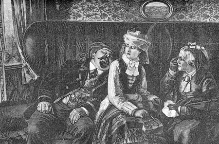 Humor scene describing the travel in first class coach, a fat snoring man,an unconmfortable girl and an enraged mother with lorgnette, old print