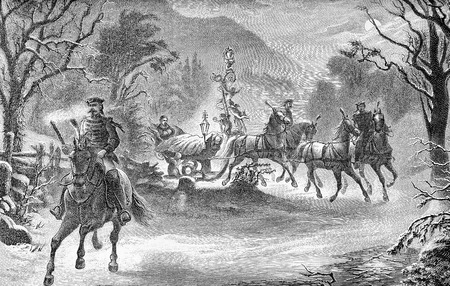Ludwig II king of Bavaria travels in sleigh by night, landscape with snow, old illustration