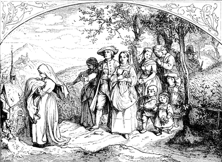 festive baptism country procession to the church, vintage engraving