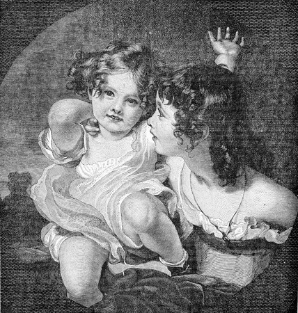 Portrait of beautiful children, happy and playful, vintage engraving Stock Photo