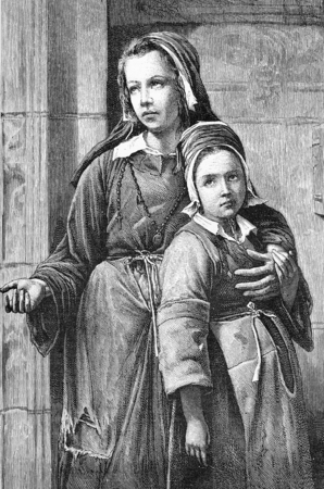 Two orphan girls with sad eyes beg for charity, vintage engraving