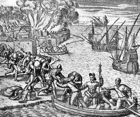 conquest of the Inca empire by Spanish conquistador Francisco Pizarro in XVI century:  Spanish soldiers move their loot on board to the ships