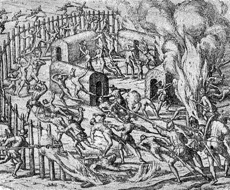 conquest of the Inca empire by Spanish conquistador Francisco Pizarro in XVI century: Spanish soldiers exterminate aborigines fortified camp Stock Photo