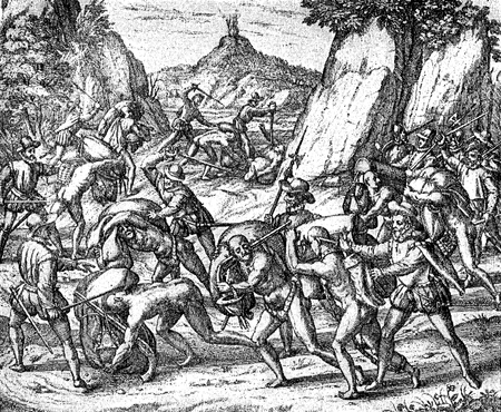 conquest of the Inca empire by Spanish conquistador Francisco Pizarro in XVI century: cruelty and abuse of slave aborigines by the Spanish army on the road to Peru
