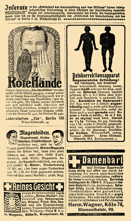 Advertising page in German book of early 900, with remedy for red hands, kock-kneed, ladies facial hair, stomach ache and cosmetics Stock Photo
