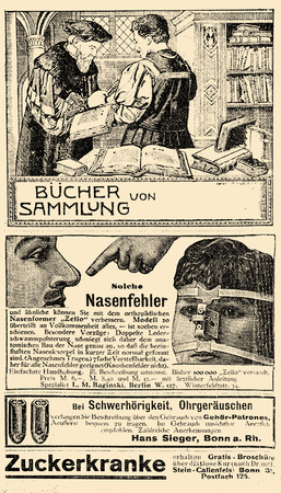 Advertising page in German book of early 900 about books, remedy for hearing-impaired people, correction of nose defects and diabetes treatment Stock Photo