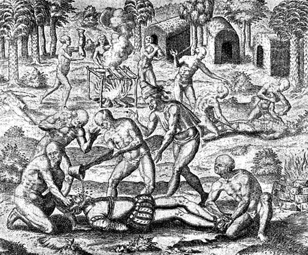 conquest of the Inca empire by Spanish conquistador Francisco Pizarro in XVI century: aborigines throw liquid gold into the throat of a Spanish soldier, white other indians cook human flesh Stock Photo