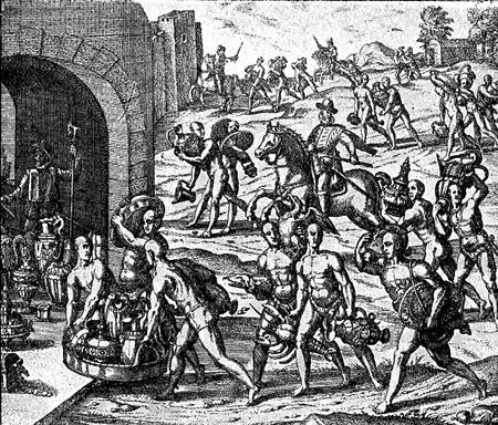 conquest of the Inca empire by Spanish conquistador Francisco Pizarro in XVI century: aborigines bring gold ransom to free imprisoned Inca emperor Atauhalpa Stock Photo