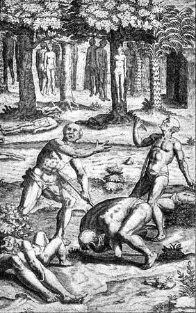 conquest of the Inca empire by Spanish conquistador Francisco Pizarro in XVI century:  aborigines kill themselves to escape Spanish army Stock Photo