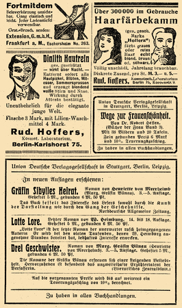 Advertising page in German book of early 900 about new novelss, shoe extension, cosmetic care for skin and hair