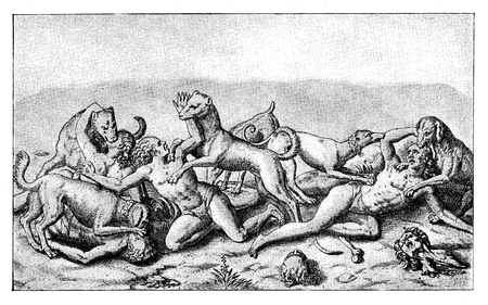 Conquest of the Inca empire by  Spanish conquistador Francisco Pizarro in XVI century: aborigines mauled by bloodhounds