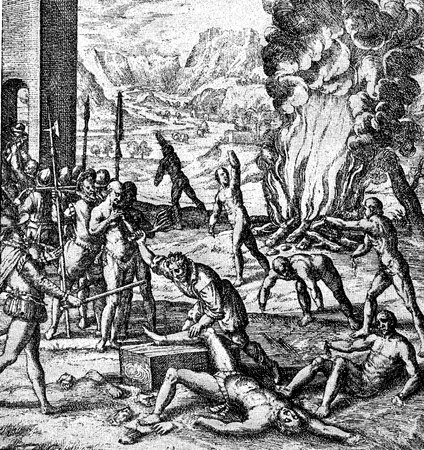conquest of the Inca empire by Spanish conquistador Francisco Pizarro in XVI century: cruelty and abuse against aborigines, soldiers cut hands and feet