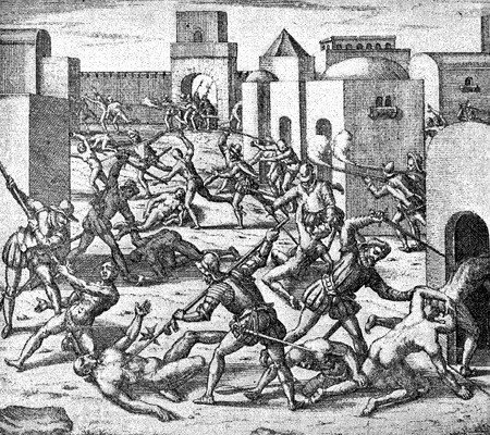 conquest of the Inca empire by Spanish conquistador Francisco Pizarro in XVI century:  cruelty, violence and abuse of aborigines in Cuzco