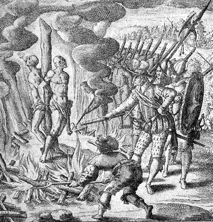 conquest of the Inca empire by Spanish conquistador Francisco Pizarro in XVI century: cruelty and abuse against aborigines, fire torture to extort gold