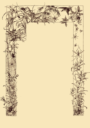 Vintage typography, beautiful  chapter frame border decoration,delicate vignette for page-title with  spring flowers,crickets, insects and birds