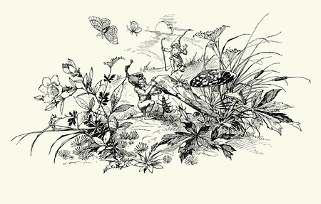 Vintage typography, beautiful  chapter endpiece decoration, vignette with gnomes,mushroom,spring flowers and butterfly