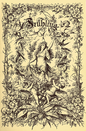 Beautiful vintage frontispiece chapter decoration dedicated to the spring season with Fruehling written in old German characters, then putti,floral goddess,flowers and birds