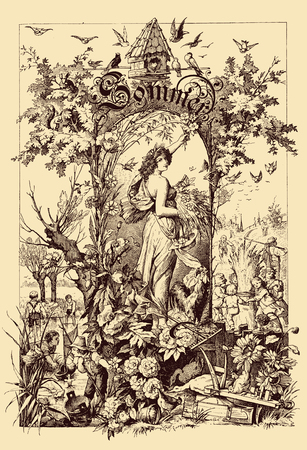 Beautiful vintage frontispiece chapter decoration dedicated to the summer season with Sommer written in old German characters, then kids playing in the fields, a goddess,flowers and birds