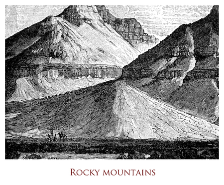 Engraving depicting a site in the Rocky Mountains (North America), with barely sketched human figures trekking and riding