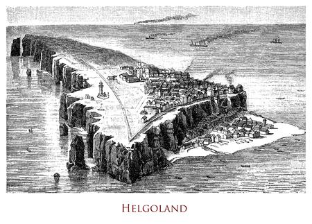 Engraving depicting the main Heligoland Island - Germany Stock Photo