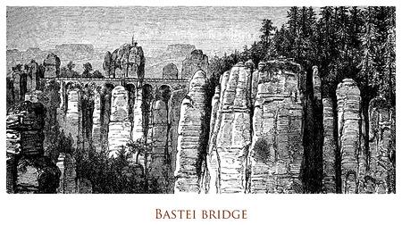 Engraving depicting the impressive stone bridge over the Bastei - Germany