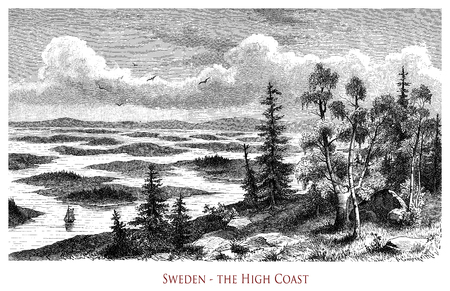 Vintage engraving of  Sweden High Coast, part of the Gulf of Bothnia with steep granite cliffs and rocky islands rising from the sea
