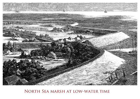 Engraving depicting the North Sea coast during ebb tide - northern Europe