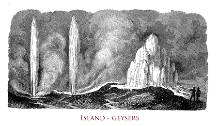 Vintage engraving of Iceland geysers, natural phenomena of spouting hot springs in geothermal areas