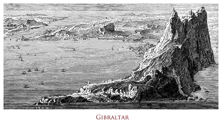 Engraving depicting the Rock and the strait of Gibraltar- UK Stock Photo