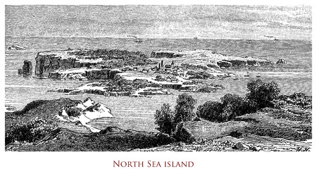 Engraving depicting an island in the North Sea
