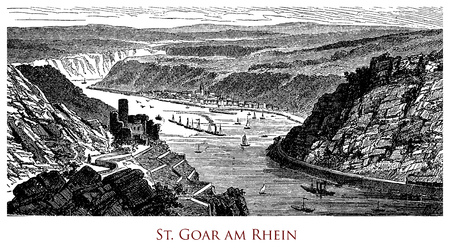 Engraving of St. Goar (Sankt Goar) on the Rhine Stock Photo